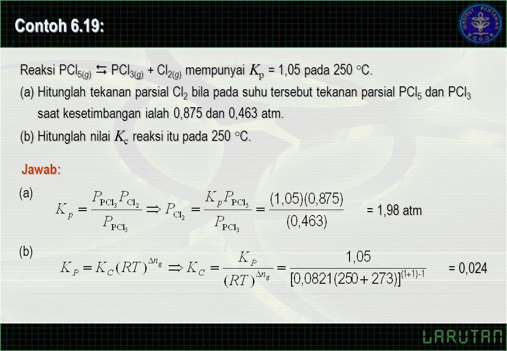 Reaksi PCl 5( g )  PCl 3( g ) + Cl 2( g ) mempunyai K p = 1,05 pada 250 °C. (a) Hitunglah tekanan parsial Cl 2 bila pada suhu tersebut tekanan parsia