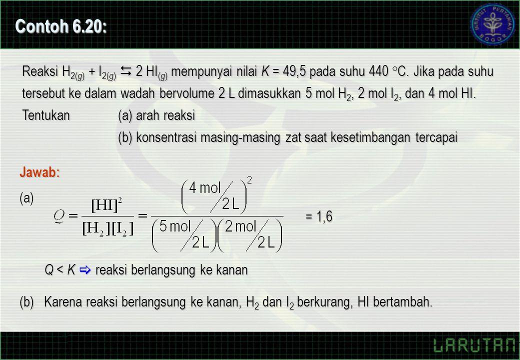 Reaksi H 2( g ) + I 2( g )  2 HI ( g ) mempunyai nilai K = 49,5 pada suhu 440 °C. Jika pada suhu tersebut ke dalam wadah bervolume 2 L dimasukkan 5 m