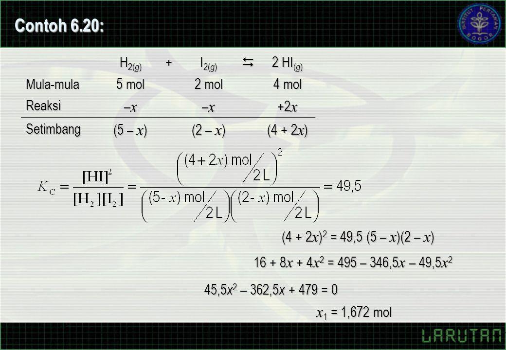 45,5 x 2 – 362,5 x + 479 = 0 x 1 = 1,672 mol Contoh 6.20: H 2( g ) + I 2( g )  2 HI ( g ) Mula-mula 5 mol 2 mol 4 mol Reaksi –x–x–x–x –x–x–x–x +2 x Setimbang (5 – x ) (2 – x ) (4 + 2 x ) (4 + 2 x ) 2 = 49,5 (5 – x )(2 – x ) 16 + 8 x + 4 x 2 = 495 – 346,5 x – 49,5 x 2