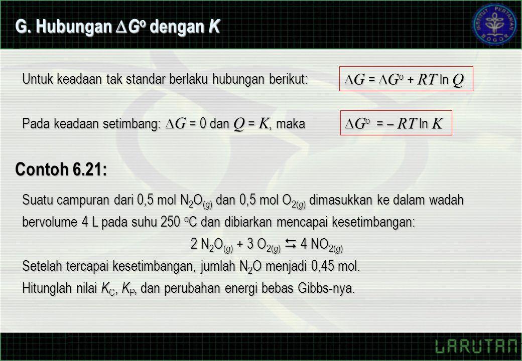 Untuk keadaan tak standar berlaku hubungan berikut:  G =  G o + RT ln Q Pada keadaan setimbang:  G = 0 dan Q = K, maka  G o = – RT ln K G.