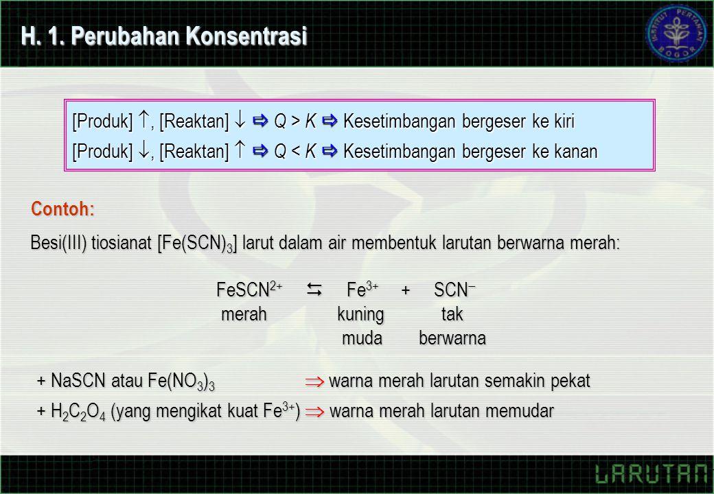 H. 1. Perubahan Konsentrasi Besi(III) tiosianat [Fe(SCN) 3 ] larut dalam air membentuk larutan berwarna merah: FeSCN 2+  Fe 3+ + SCN  merah kuning t