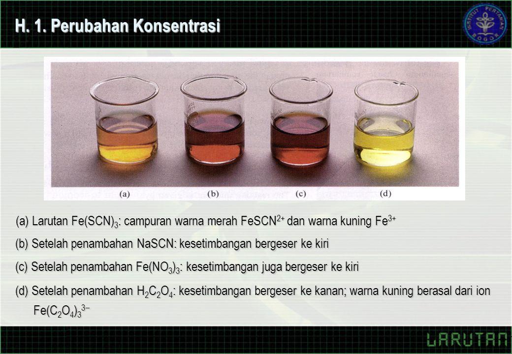H. 1. Perubahan Konsentrasi (a) Larutan Fe(SCN) 3 : campuran warna merah FeSCN 2+ dan warna kuning Fe 3+ (b) Setelah penambahan NaSCN: kesetimbangan b
