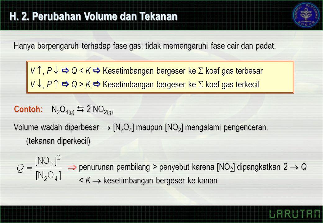 H. 2. Perubahan Volume dan Tekanan Hanya berpengaruh terhadap fase gas; tidak memengaruhi fase cair dan padat. V , P   Q < K  Kesetimbangan berges