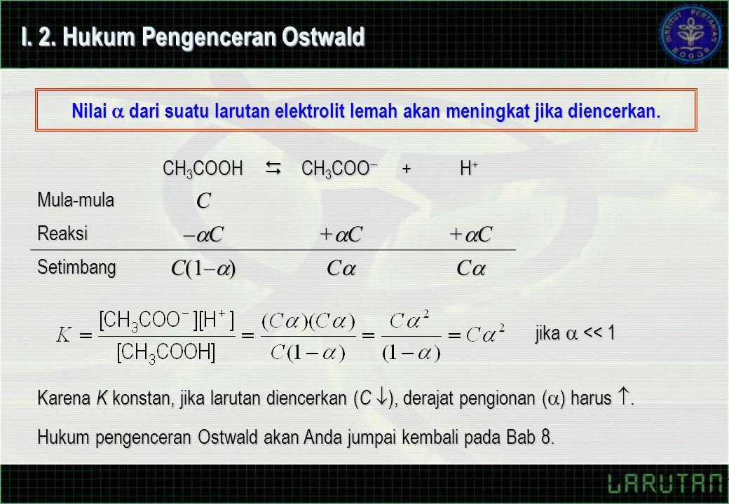 I. 2. Hukum Pengenceran Ostwald Nilai  dari suatu larutan elektrolit lemah akan meningkat jika diencerkan. CH 3 COOH  CH 3 COO  + H+H+H+H+Mula-mula