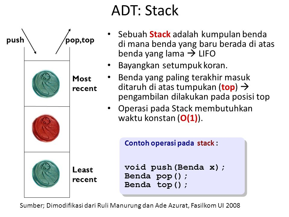 ADT: Stack Sebuah Stack adalah kumpulan benda di mana benda yang baru berada di atas benda yang lama  LIFO Bayangkan setumpuk koran. Benda yang palin