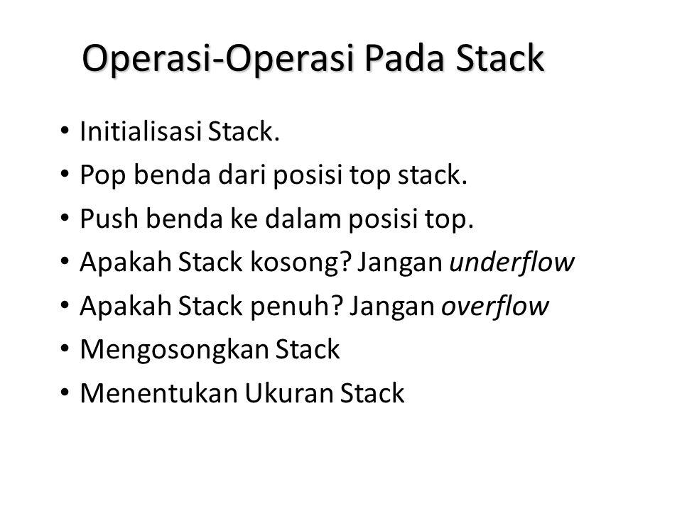 Operasi-Operasi Pada Stack Initialisasi Stack. Pop benda dari posisi top stack. Push benda ke dalam posisi top. Apakah Stack kosong? Jangan underflow