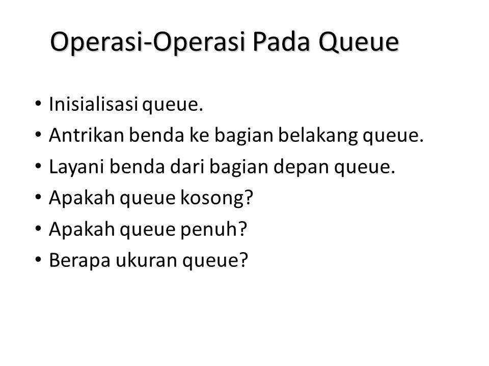 Operasi-Operasi Pada Queue Inisialisasi queue. Antrikan benda ke bagian belakang queue. Layani benda dari bagian depan queue. Apakah queue kosong? Apa