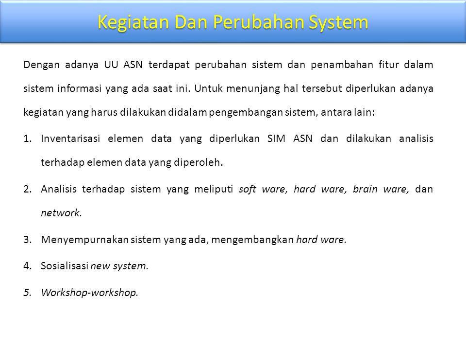 Kegiatan Dan Perubahan System Dengan adanya UU ASN terdapat perubahan sistem dan penambahan fitur dalam sistem informasi yang ada saat ini. Untuk menu