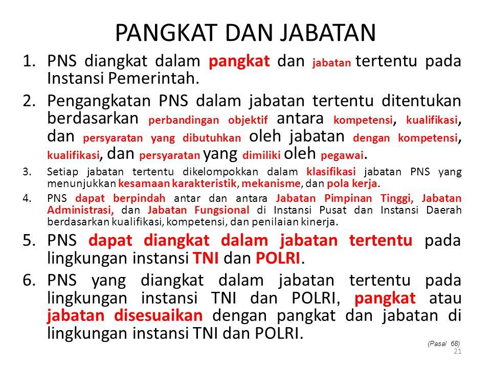 PANGKAT DAN JABATAN 1.PNS diangkat dalam pangkat dan jabatan tertentu pada Instansi Pemerintah. 2.Pengangkatan PNS dalam jabatan tertentu ditentukan b