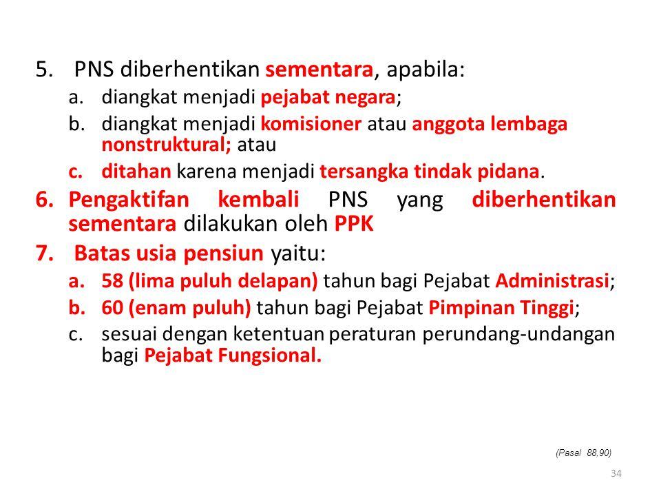 5. PNS diberhentikan sementara, apabila: a.diangkat menjadi pejabat negara; b.diangkat menjadi komisioner atau anggota lembaga nonstruktural; atau c.d