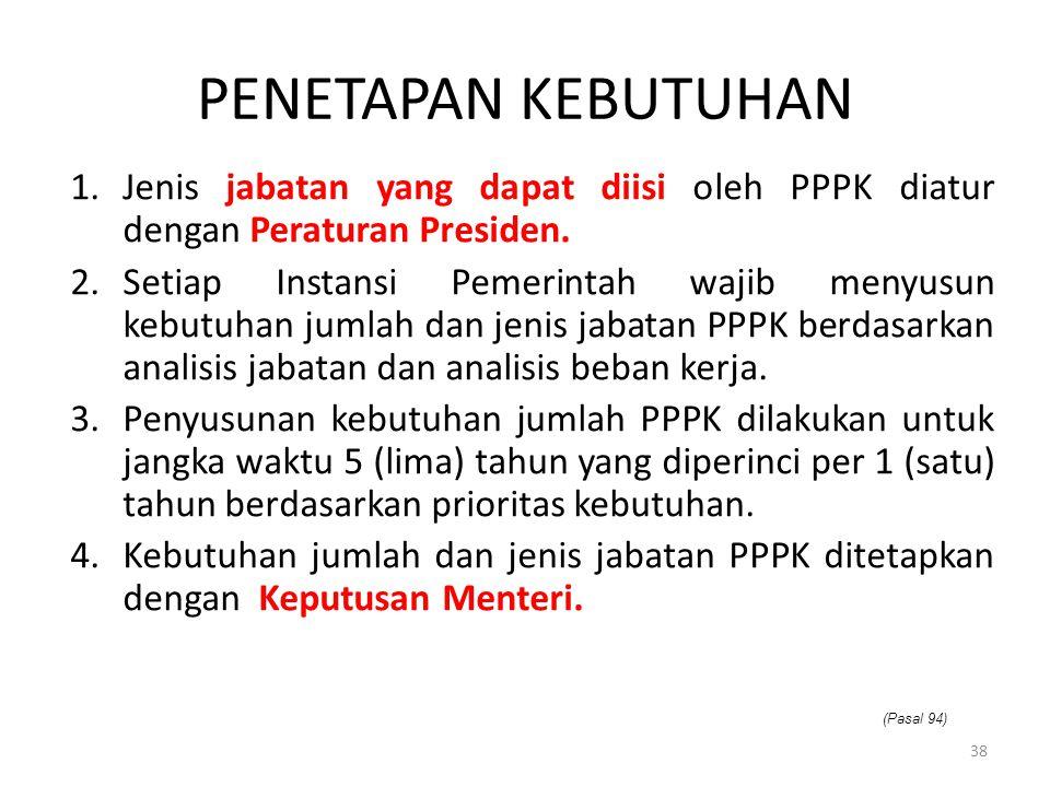 1.Jenis jabatan yang dapat diisi oleh PPPK diatur dengan Peraturan Presiden. 2.Setiap Instansi Pemerintah wajib menyusun kebutuhan jumlah dan jenis ja