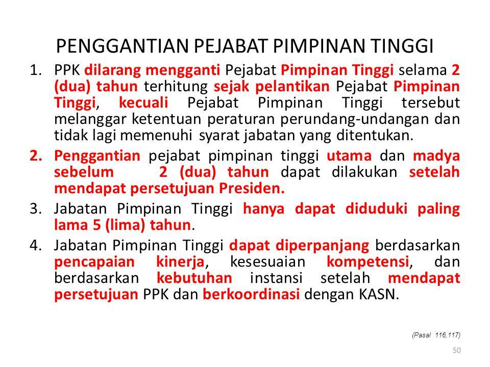 PENGGANTIAN PEJABAT PIMPINAN TINGGI 1.PPK dilarang mengganti Pejabat Pimpinan Tinggi selama 2 (dua) tahun terhitung sejak pelantikan Pejabat Pimpinan