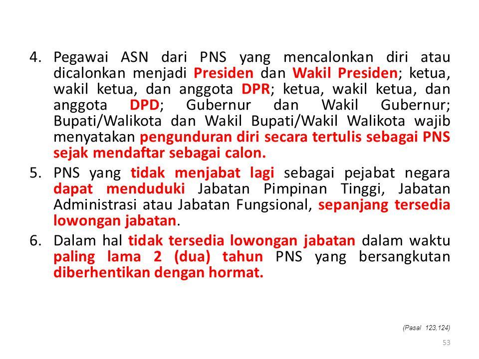 4.Pegawai ASN dari PNS yang mencalonkan diri atau dicalonkan menjadi Presiden dan Wakil Presiden; ketua, wakil ketua, dan anggota DPR; ketua, wakil ke