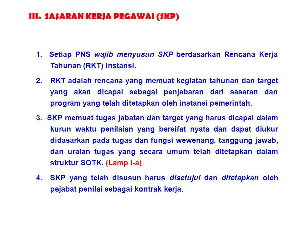 62 1. Setiap PNS wajib menyusun SKP berdasarkan Rencana Kerja Tahunan (RKT) Instansi. 2. RKT adalah rencana yang memuat kegiatan tahunan dan target ya