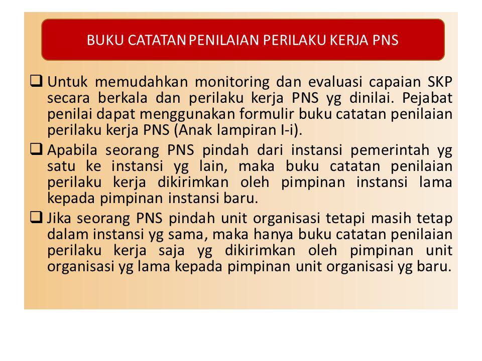  Untuk memudahkan monitoring dan evaluasi capaian SKP secara berkala dan perilaku kerja PNS yg dinilai. Pejabat penilai dapat menggunakan formulir bu