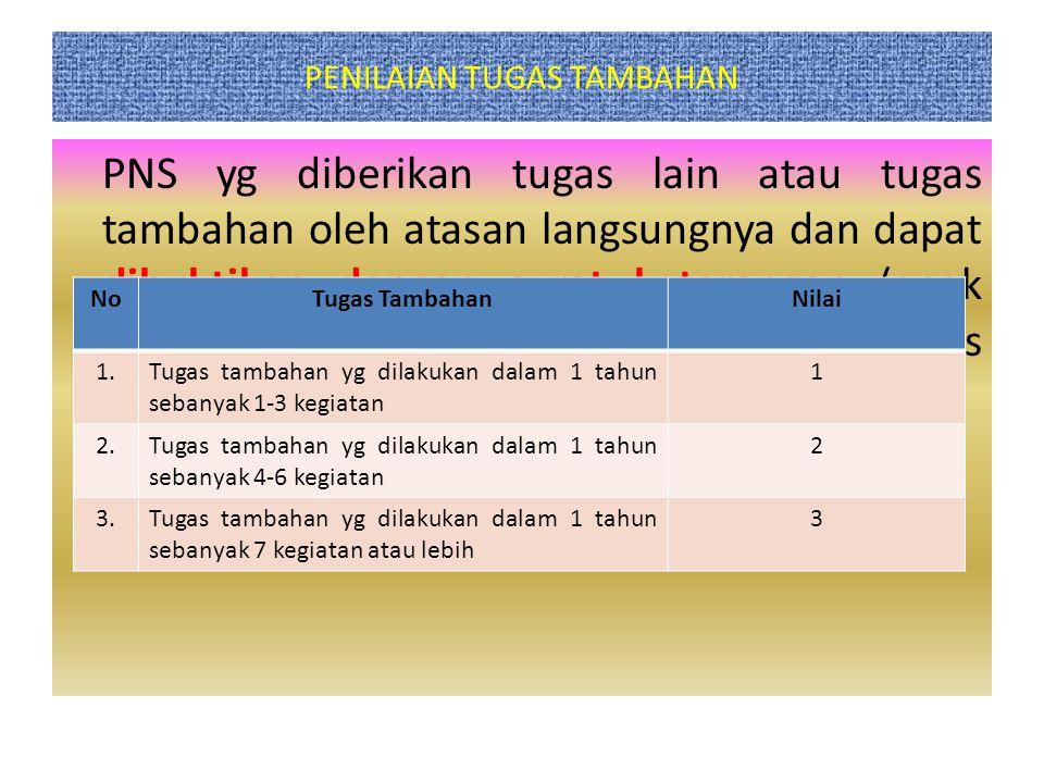 PENILAIAN TUGAS TAMBAHAN PNS yg diberikan tugas lain atau tugas tambahan oleh atasan langsungnya dan dapat dibuktikan dengan surat keterangan (anak la