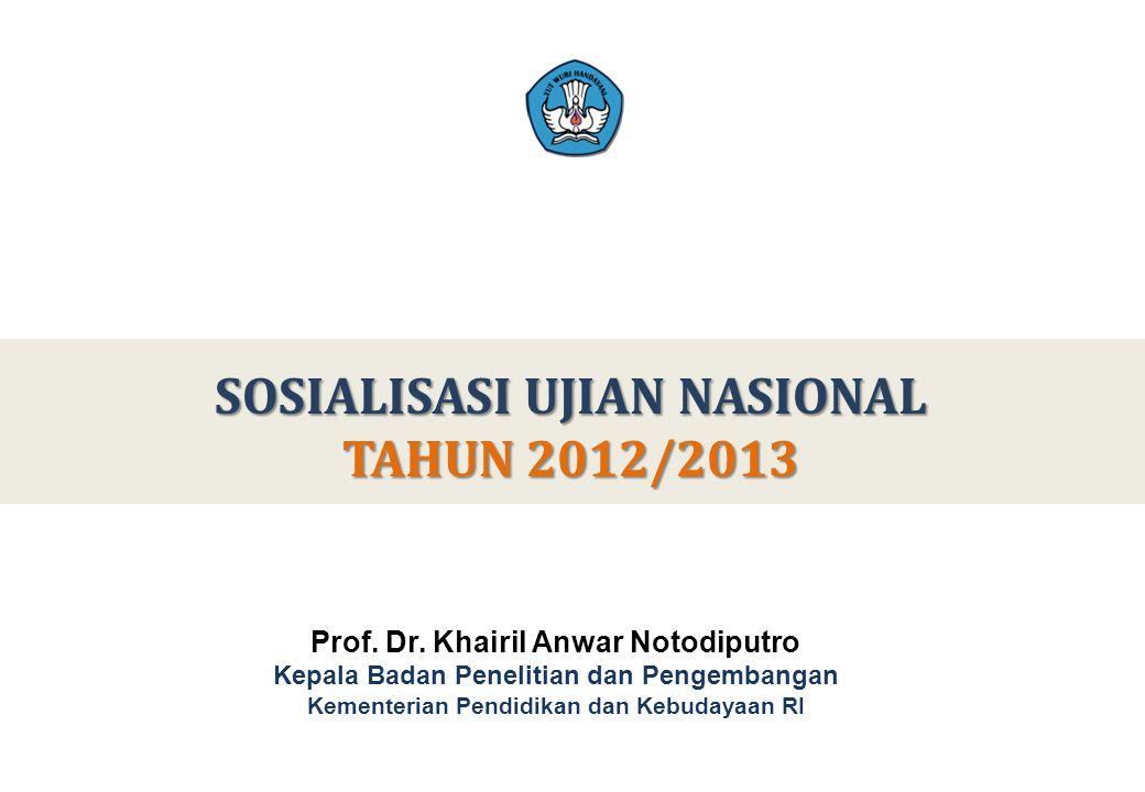 SOSIALISASI UJIAN NASIONAL TAHUN 2012/2013 Prof. Dr. Khairil Anwar Notodiputro Kepala Badan Penelitian dan Pengembangan Kementerian Pendidikan dan Keb