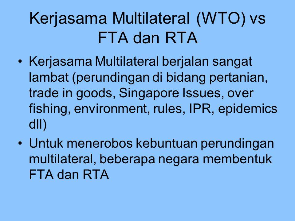 Kerjasama Multilateral (WTO) vs FTA dan RTA Kerjasama Multilateral berjalan sangat lambat (perundingan di bidang pertanian, trade in goods, Singapore