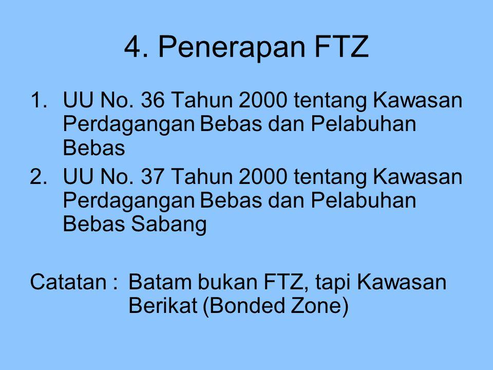 4. Penerapan FTZ 1.UU No. 36 Tahun 2000 tentang Kawasan Perdagangan Bebas dan Pelabuhan Bebas 2.UU No. 37 Tahun 2000 tentang Kawasan Perdagangan Bebas