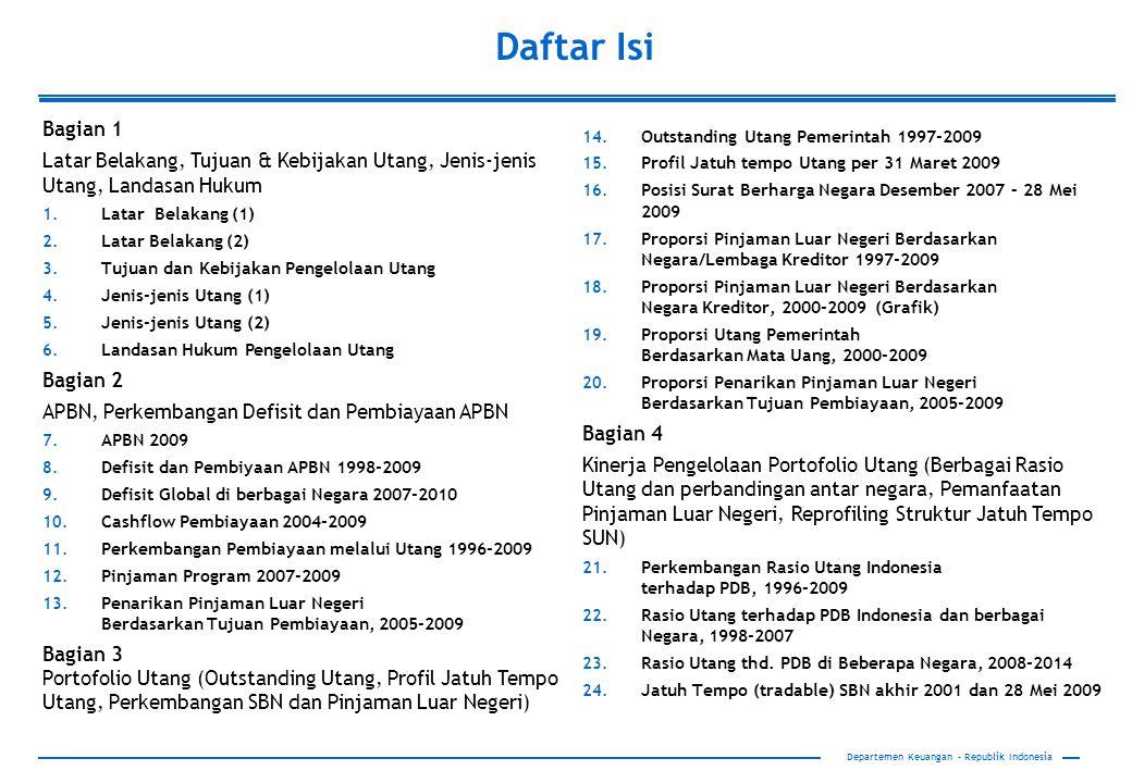 Departemen Keuangan – Republik Indonesia Daftar Isi Bagian 1 Latar Belakang, Tujuan & Kebijakan Utang, Jenis-jenis Utang, Landasan Hukum 1. Latar Bela