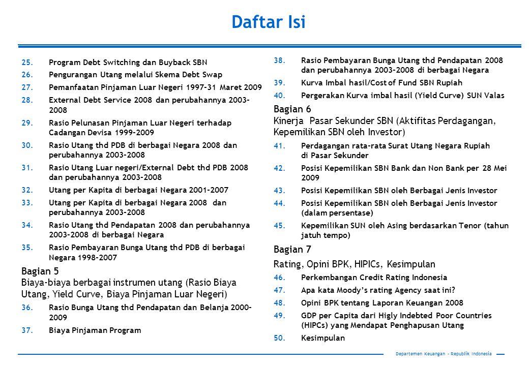 18 Departemen Keuangan – Republik Indonesia Proporsi Pinjaman Luar Negeri Berdasarkan Negara/lembaga Kreditor, 2000-2009 Catatan: *) Data per tanggal 31 Maret 2009 Pinjaman Luar negeri dari multilateral (WB, ADB) dan bilateral (Jepang) merupakan alternatif sumber pembiayaan yang relatif murah dan jangka panjang