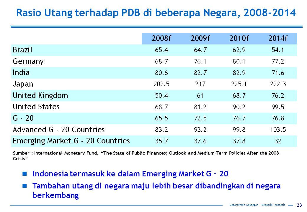 """23 Departemen Keuangan – Republik Indonesia Rasio Utang terhadap PDB di beberapa Negara, 2008-2014 Sumber : International Monetary Fund, """"The State of"""