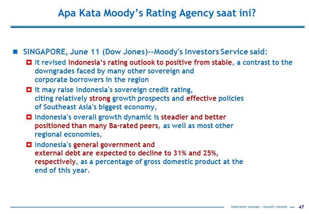 47 Apa Kata Moody's Rating Agency saat ini? SINGAPORE, June 11 (Dow Jones)--Moody's Investors Service said:  It revised Indonesia's rating outlook to