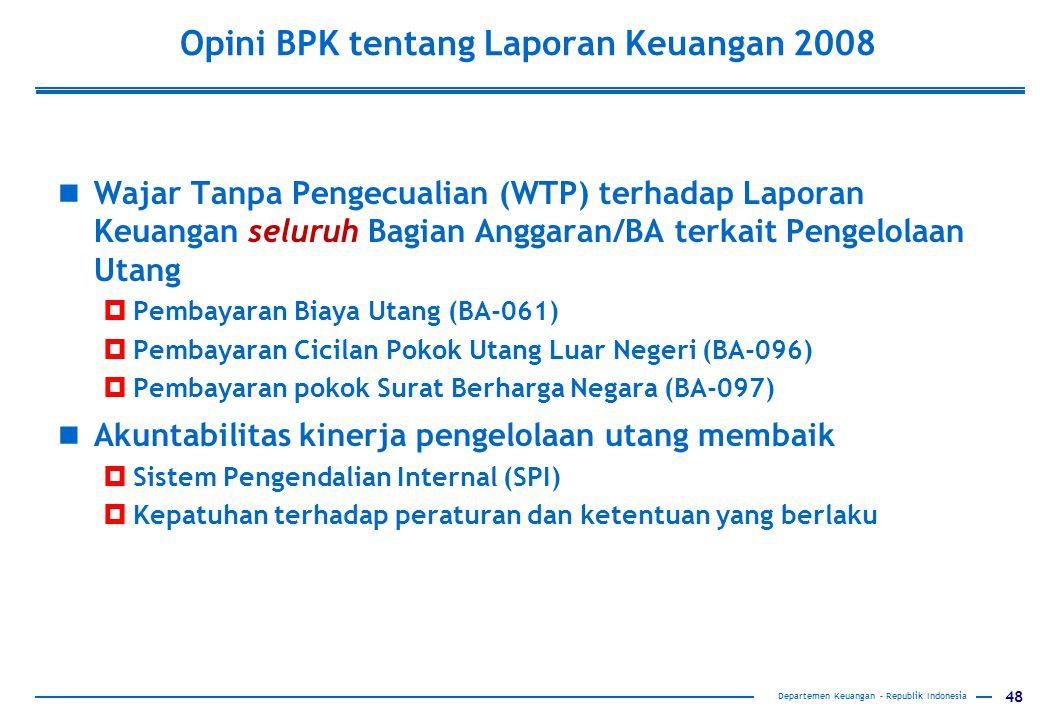 48 Opini BPK tentang Laporan Keuangan 2008 Wajar Tanpa Pengecualian (WTP) terhadap Laporan Keuangan seluruh Bagian Anggaran/BA terkait Pengelolaan Uta