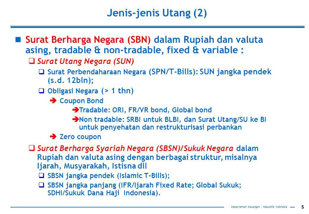 5 Jenis-jenis Utang (2) Departemen Keuangan – Republik Indonesia Surat Berharga Negara (SBN) dalam Rupiah dan valuta asing, tradable & non-tradable, f