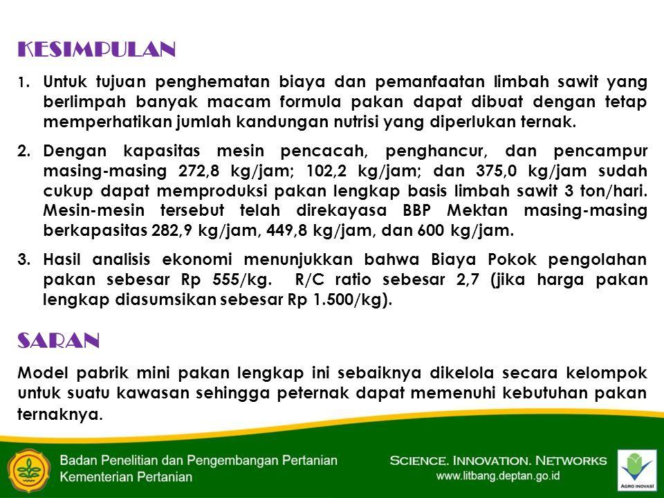 KESIMPULAN 1.Untuk tujuan penghematan biaya dan pemanfaatan limbah sawit yang berlimpah banyak macam formula pakan dapat dibuat dengan tetap memperhat