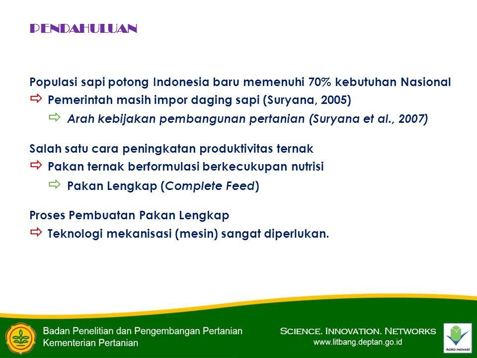 PENDAHULUAN Populasi sapi potong Indonesia baru memenuhi 70% kebutuhan Nasional  Pemerintah masih impor daging sapi (Suryana, 2005)  Arah kebijakan