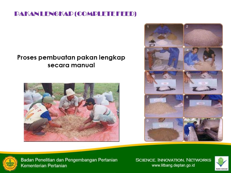 Proses pembuatan pakan lengkap secara manual PAKAN LENGKAP (COMPLETE FEED)