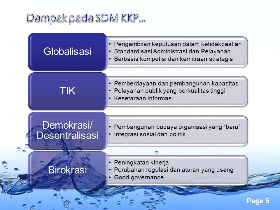 Page 5 Pengambilan keputusan dalam ketidakpastian Standardisasi Administrasi dan Pelayanan Berbasis kompetisi dan kemitraan strategis Globalisasi Pemb
