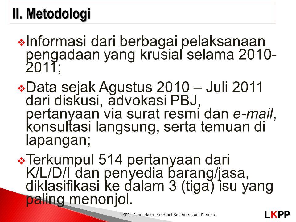 LKPP LKPP- Pengadaan Kredibel Sejahterakan Bangsa  Informasi dari berbagai pelaksanaan pengadaan yang krusial selama 2010- 2011;  Data sejak Agustus