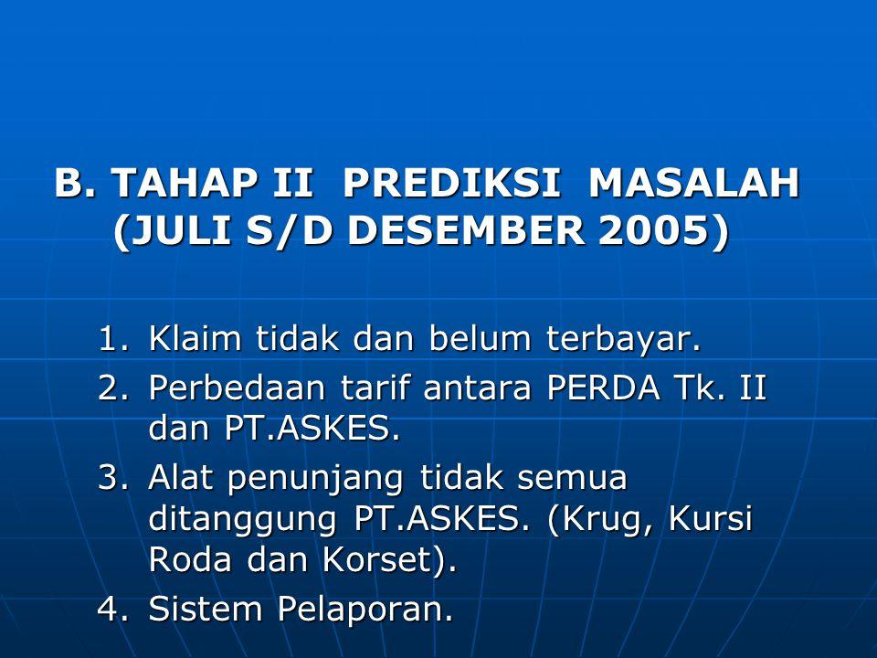 B. TAHAP II PREDIKSI MASALAH (JULI S/D DESEMBER 2005) 1.Klaim tidak dan belum terbayar. 2.Perbedaan tarif antara PERDA Tk. II dan PT.ASKES. 3.Alat pen