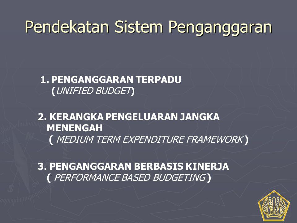 Pendekatan Sistem Penganggaran 1.PENGANGGARAN TERPADU (UNIFIED BUDGET) 3. PENGANGGARAN BERBASIS KINERJA ( PERFORMANCE BASED BUDGETING ) 2. KERANGKA PE