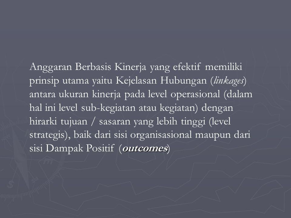 outcomes Anggaran Berbasis Kinerja yang efektif memiliki prinsip utama yaitu Kejelasan Hubungan (linkages) antara ukuran kinerja pada level operasiona