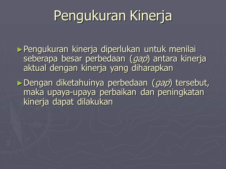 Pengukuran Kinerja ► Pengukuran kinerja diperlukan untuk menilai seberapa besar perbedaan (gap) antara kinerja aktual dengan kinerja yang diharapkan ►