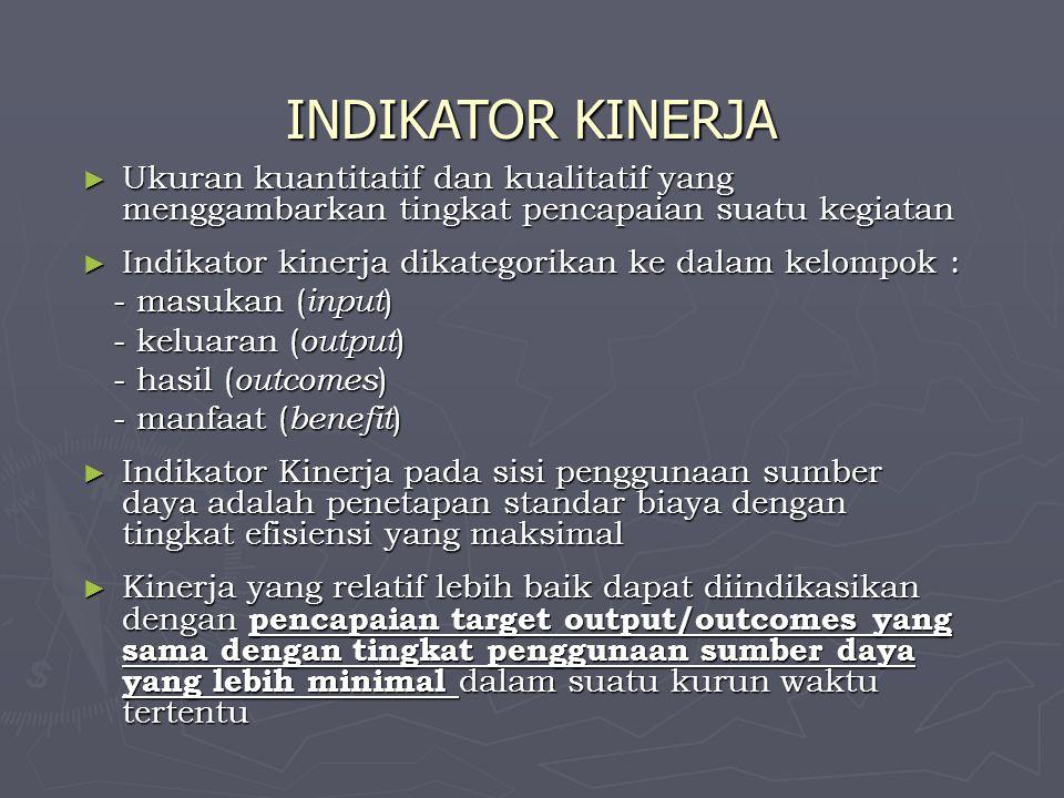 INDIKATOR KINERJA ► Ukuran kuantitatif dan kualitatif yang menggambarkan tingkat pencapaian suatu kegiatan ► Indikator kinerja dikategorikan ke dalam