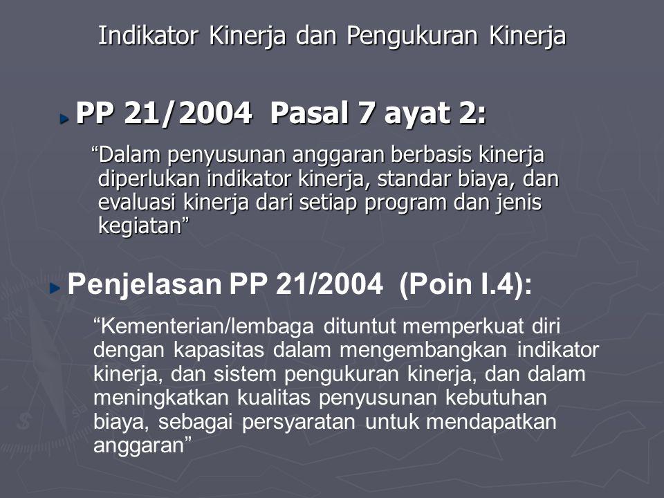 """Indikator Kinerja dan Pengukuran Kinerja PP 21/2004 Pasal 7 ayat 2: PP 21/2004 Pasal 7 ayat 2: """" Dalam penyusunan anggaran berbasis kinerja diperlukan"""