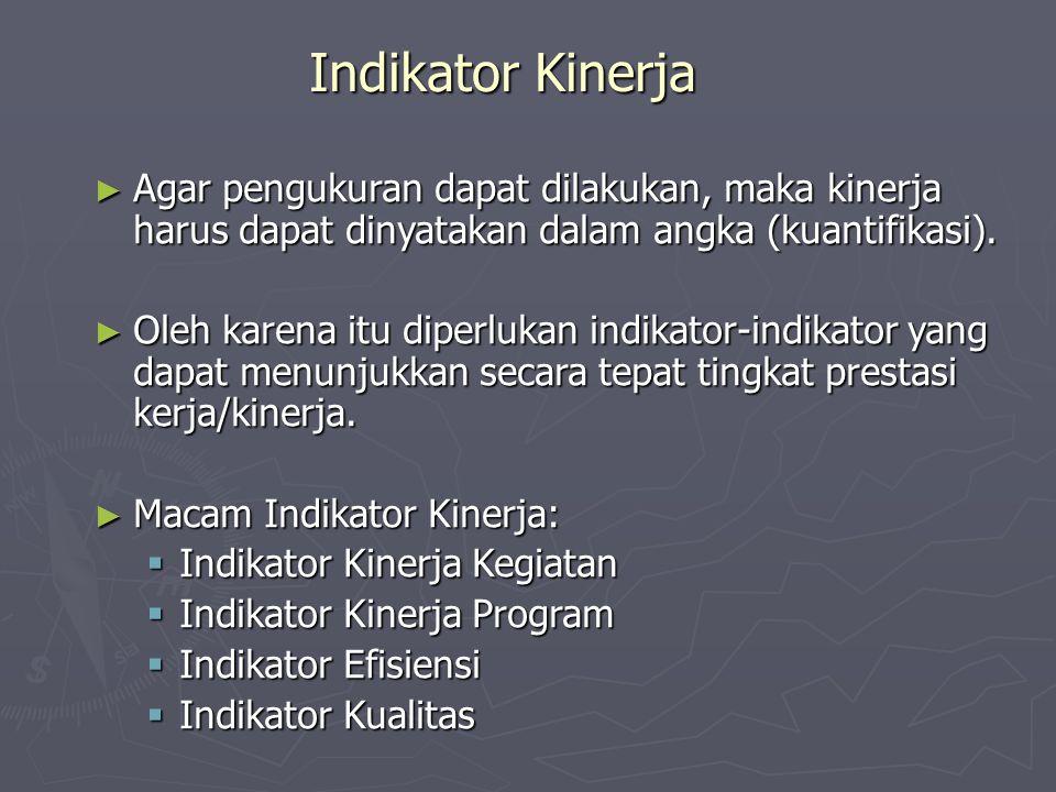 Indikator Kinerja ► Agar pengukuran dapat dilakukan, maka kinerja harus dapat dinyatakan dalam angka (kuantifikasi). ► Oleh karena itu diperlukan indi