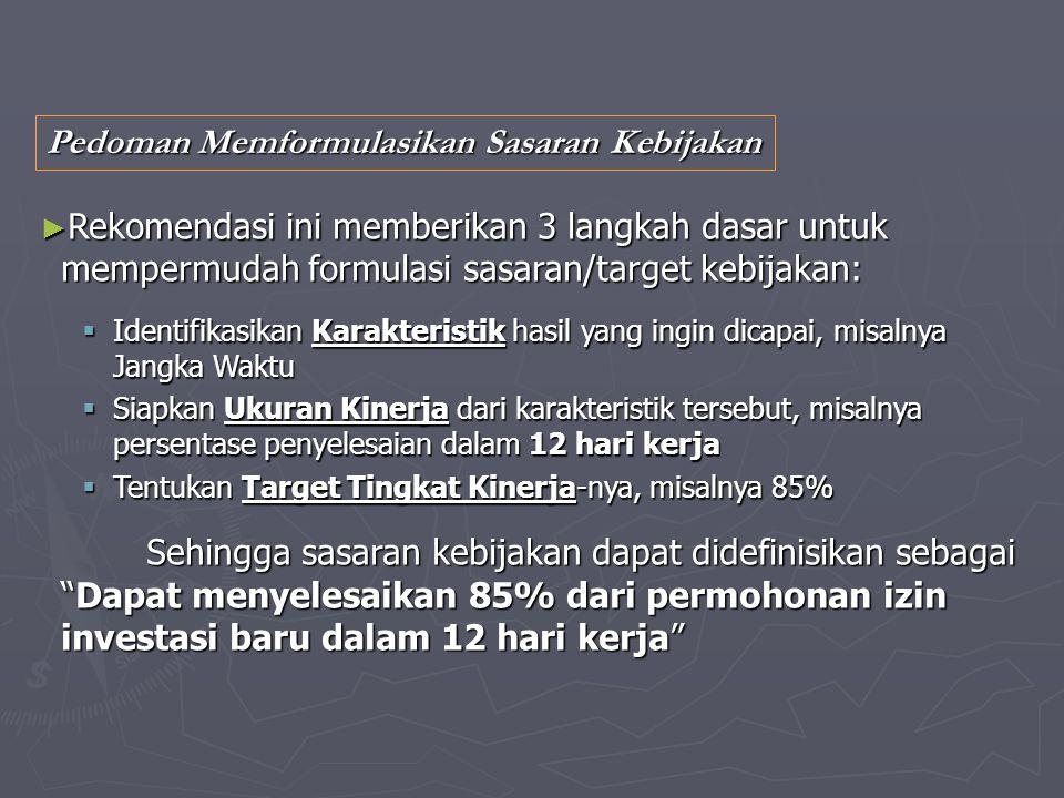 Pedoman Memformulasikan Sasaran Kebijakan ► Rekomendasi ini memberikan 3 langkah dasar untuk mempermudah formulasi sasaran/target kebijakan:  Identif