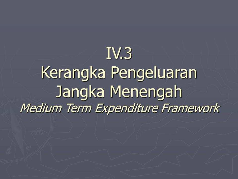 IV.3 Kerangka Pengeluaran Jangka Menengah Medium Term Expenditure Framework