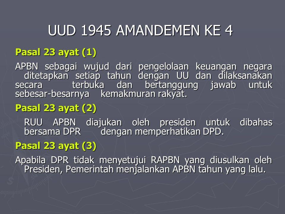 UUD 1945 AMANDEMEN KE 4 Pasal 23 ayat (1) APBN sebagai wujud dari pengelolaan keuangan negara ditetapkan setiap tahun dengan UU dan dilaksanakan secar