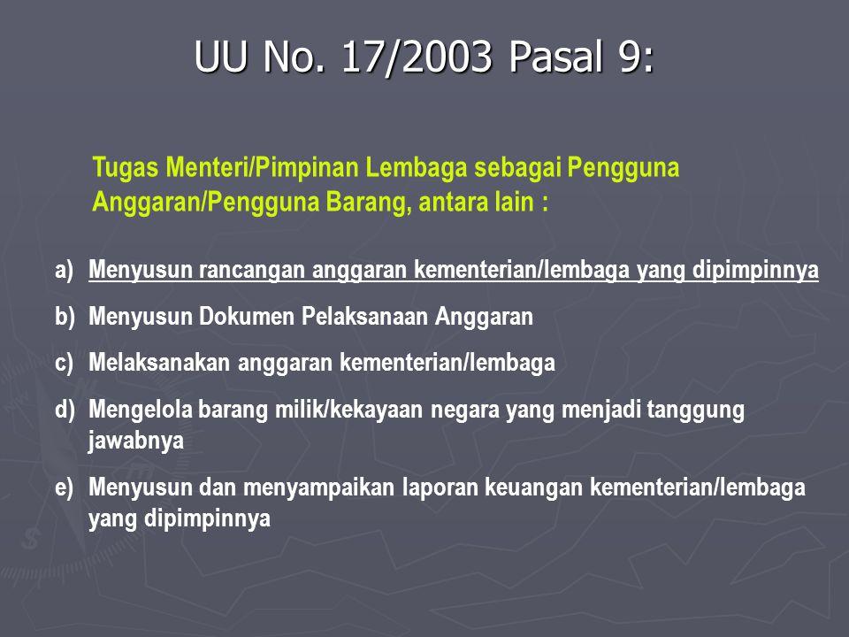 UU No.17/2003 Pasal 14 1) 1) Dalam rangka penyusunan RAPBN, menteri/pimpinan lembaga selaku pengguna anggaran/pengguna barang menyusun rencana kerja dan anggaran kementerian negara/lembaga tahun berikutnya.