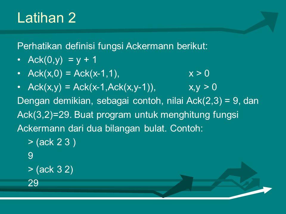 Latihan 2 Perhatikan definisi fungsi Ackermann berikut: Ack(0,y) = y + 1 Ack(x,0) = Ack(x-1,1), x > 0 Ack(x,y) = Ack(x-1,Ack(x,y-1)), x,y > 0 Dengan d