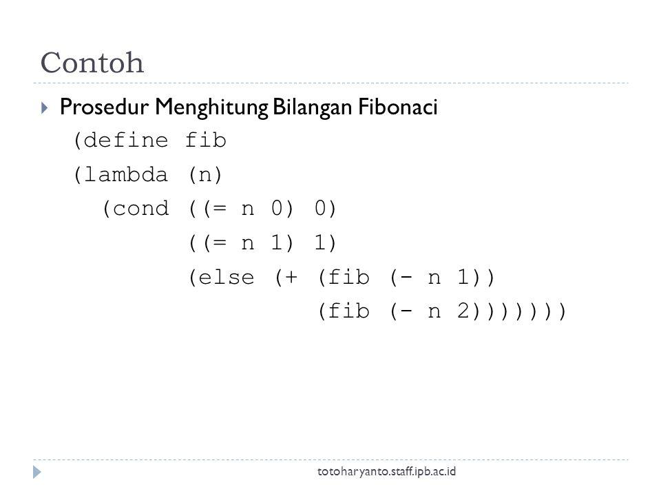 Contoh  Prosedur Menghitung Bilangan Fibonaci (define fib (lambda (n) (cond ((= n 0) 0) ((= n 1) 1) (else (+ (fib (- n 1)) (fib (- n 2))))))) totoharyanto.staff.ipb.ac.id