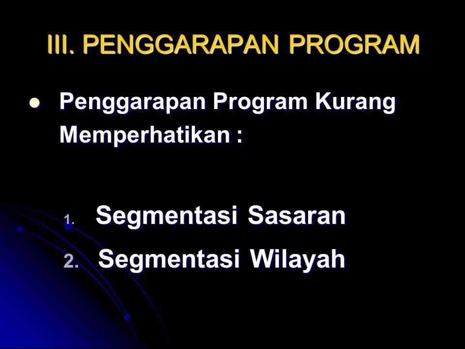 III. PENGGARAPAN PROGRAM Penggarapan Program Kurang Memperhatikan : Penggarapan Program Kurang Memperhatikan : 1. Segmentasi Sasaran 2. Segmentasi Wil