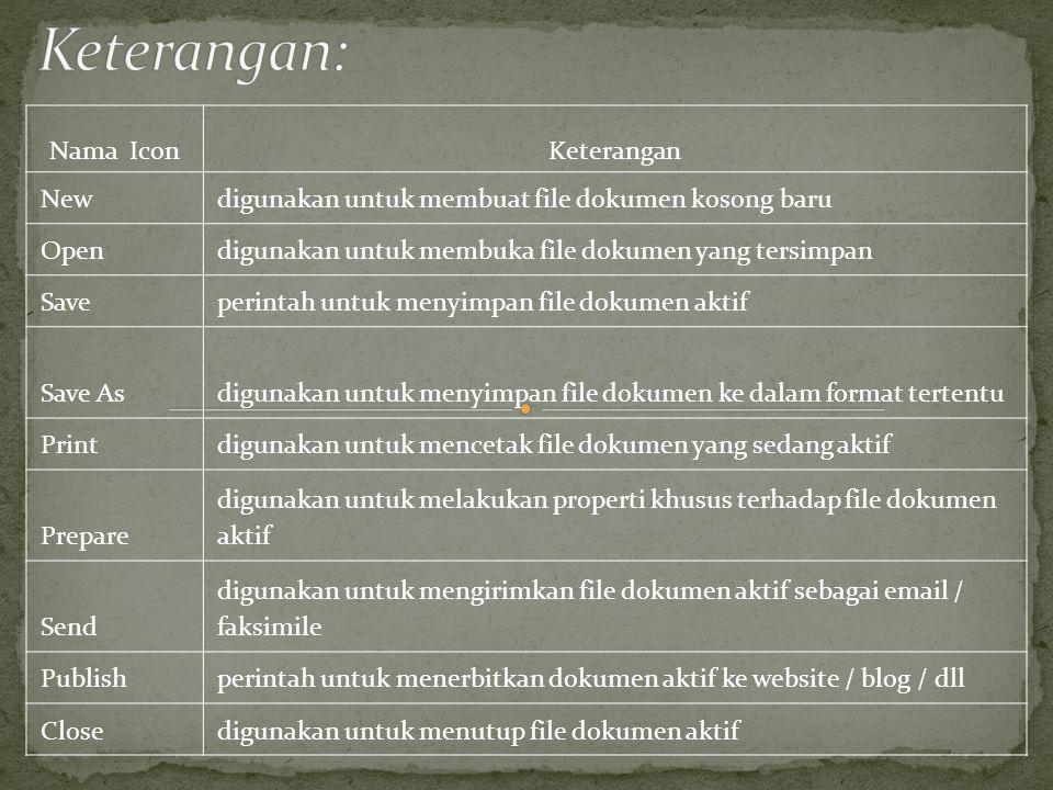 Tab Home terdiri dari lima Group yaitu : 1. Clipboard 2. Font 3.Paragraph 4.Styles 5.editing