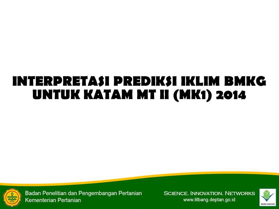 INTERPRETASI PREDIKSI IKLIM BMKG UNTUK KATAM MT II (MK1) 2014